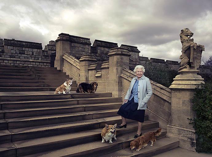 Елизавета II с любимыми собаками