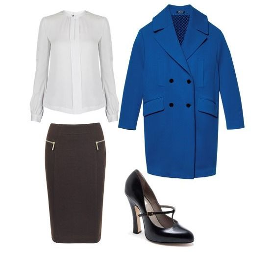 Блуза - Diane Von Furstenberg; юбка - Michael Michael Kors; пальто – DKNY; туфли – Marc Jacobs