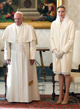 Папа Римский Франциск и принцесса Шарлин