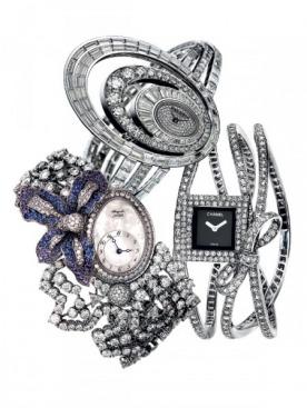Часы Millenary Elixir, Audemars Piguet, белое золото, бриллианты  Часы Marie-Antoinette Fleurs, Breguet, белое золото, сапфиры, бриллианты  Часы Montre Ruban, Chanel Joaillerie, белое золото, бриллианты