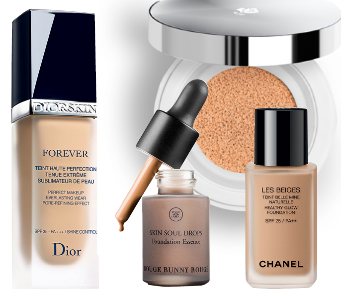 1. Dior Forever; 2. Rouge Bunny Rouge SKIN SOUL DROPS; 3. Lancome Miracle Cushion; 4. Chanel Les Beiges