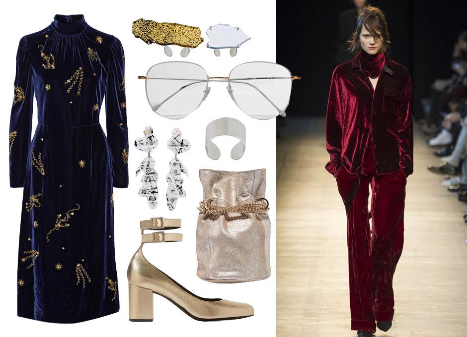 Платье Prada, туфли Saint Laurent, сумка-мешок Lanvin, серьги Christopher Kane, очки Prism, кольца Maison Margiela, показ Costume National F/W 16