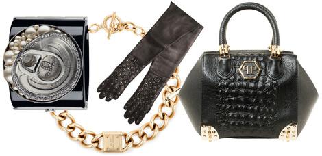 Браслет, Chanel, цена по запросу; колье, MICHAEL Michael Kors, 7 200 руб.; перчатки, Simonetta Ravizza, 23 500 руб.; сумка, Philipp Plein, 122 400 руб.
