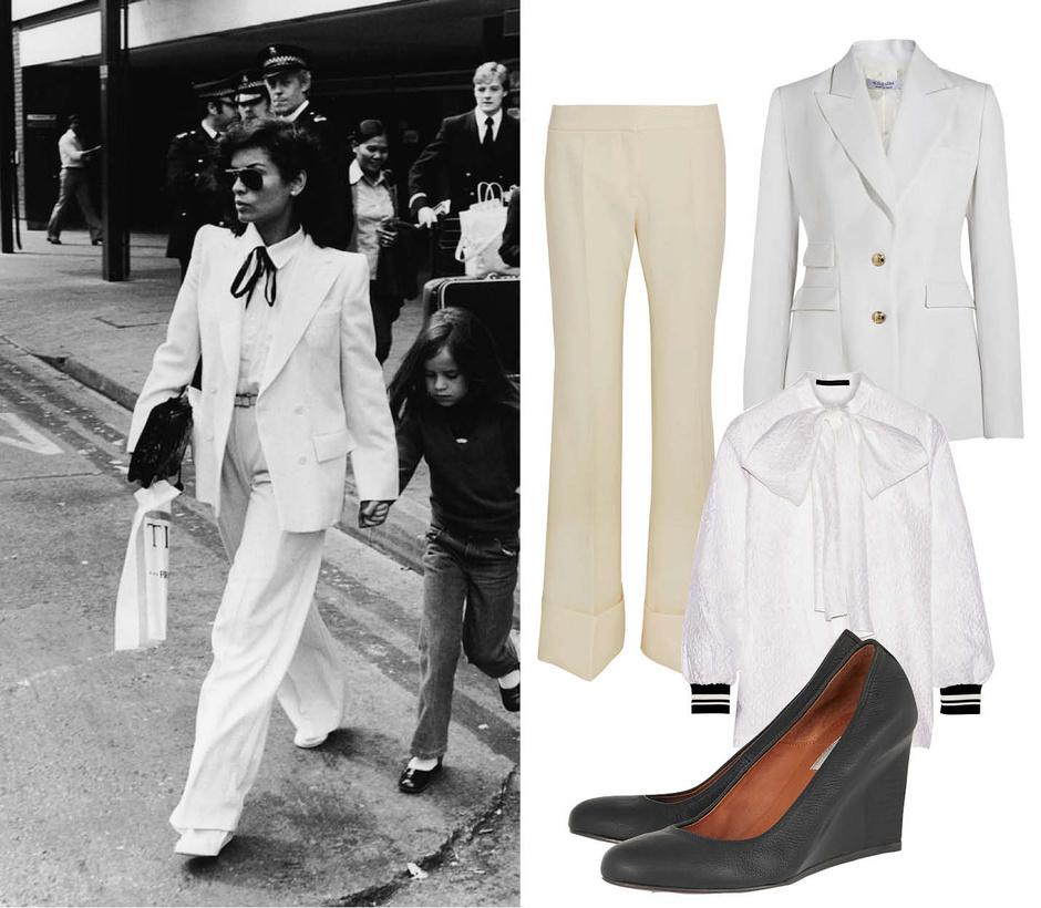 Выбор ELLE: блейзер Altuzarra, брюки Stella McCartney, блуза Mother of Pearl, туфли Lanvin