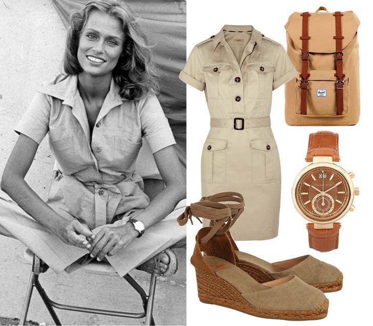 Выбор ELLE: платье Burberry Brit, эспадрильи Castaner, рюкзак Herschel Supply Company, часы Michael Kors