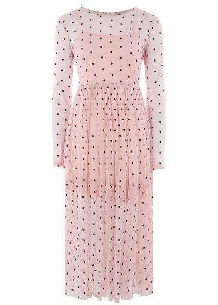Розовое платье в горошек
