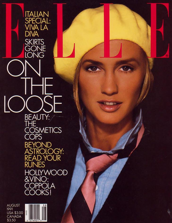 Ким Наи в Ralph Lauren на обложке журнала Elle 1991 года
