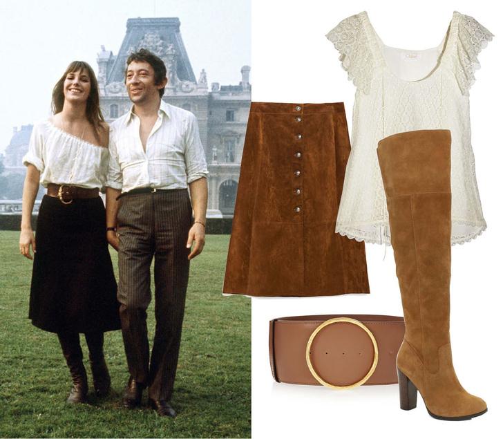 Выбор ELLE: юбка Zara, блуза Chloe, сапоги Aldo, пояс Stella McCartney