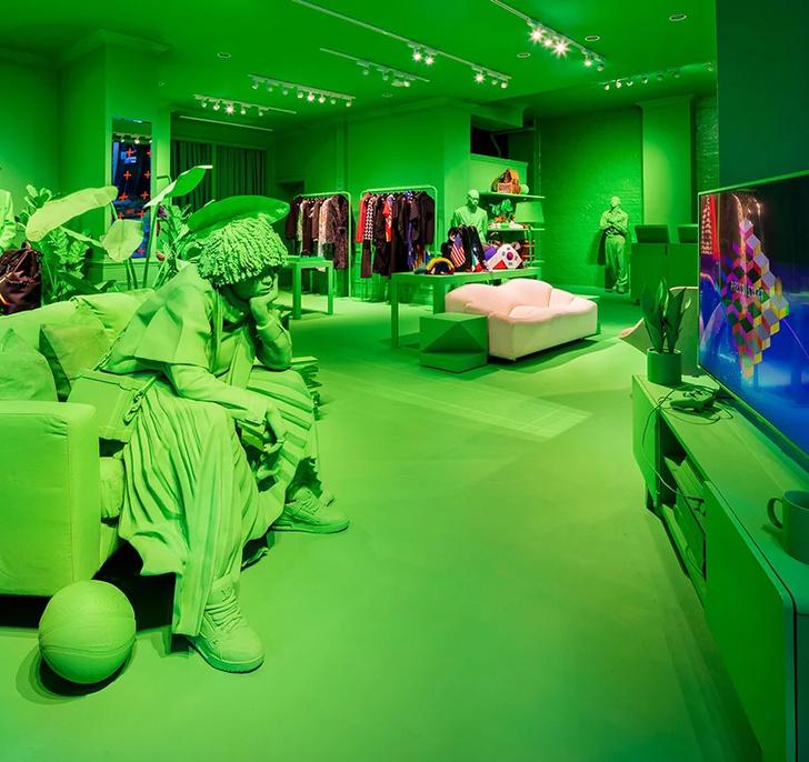 Ярко-зеленый pop-up бутик Louis Vuitton в Нью-Йорке (фото 5)