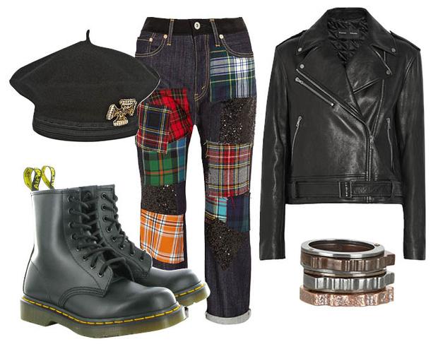 Выбор ELLE: джинсы-шаровары Junya Watanabe, кожаный жакет Proenza Schouler, браслет Bottega Veneta, берет Alberta Ferretti