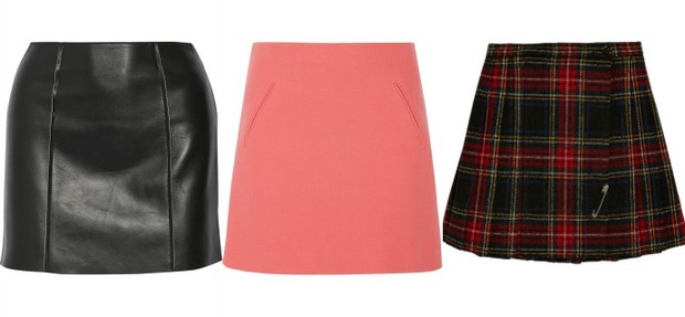 Выбор ELLE: кожаная юбка T by Alexander Wang, розовая шерстяная юбка Marni, клетчатая юбка Saint Laurent