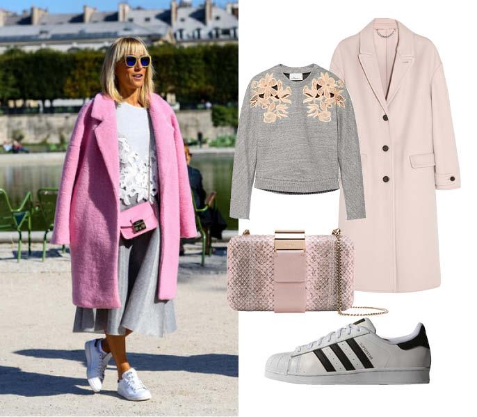 Свитер, 3.1 Phillip Lim, пальто, Burberry London; кеды, Adidas Originals; клатч, Furla