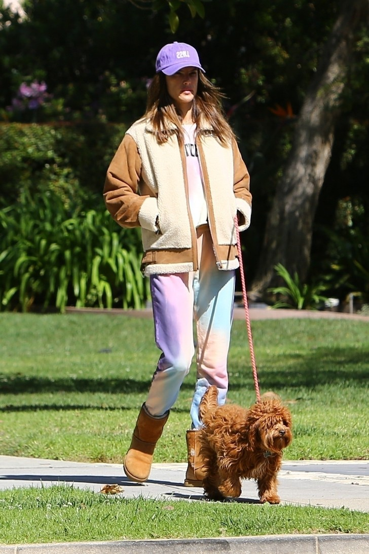 В лиловых оттенках: Алессандра Амросио показала самый уютный и стильный наряд для расслабленной прогулки (фото 1)