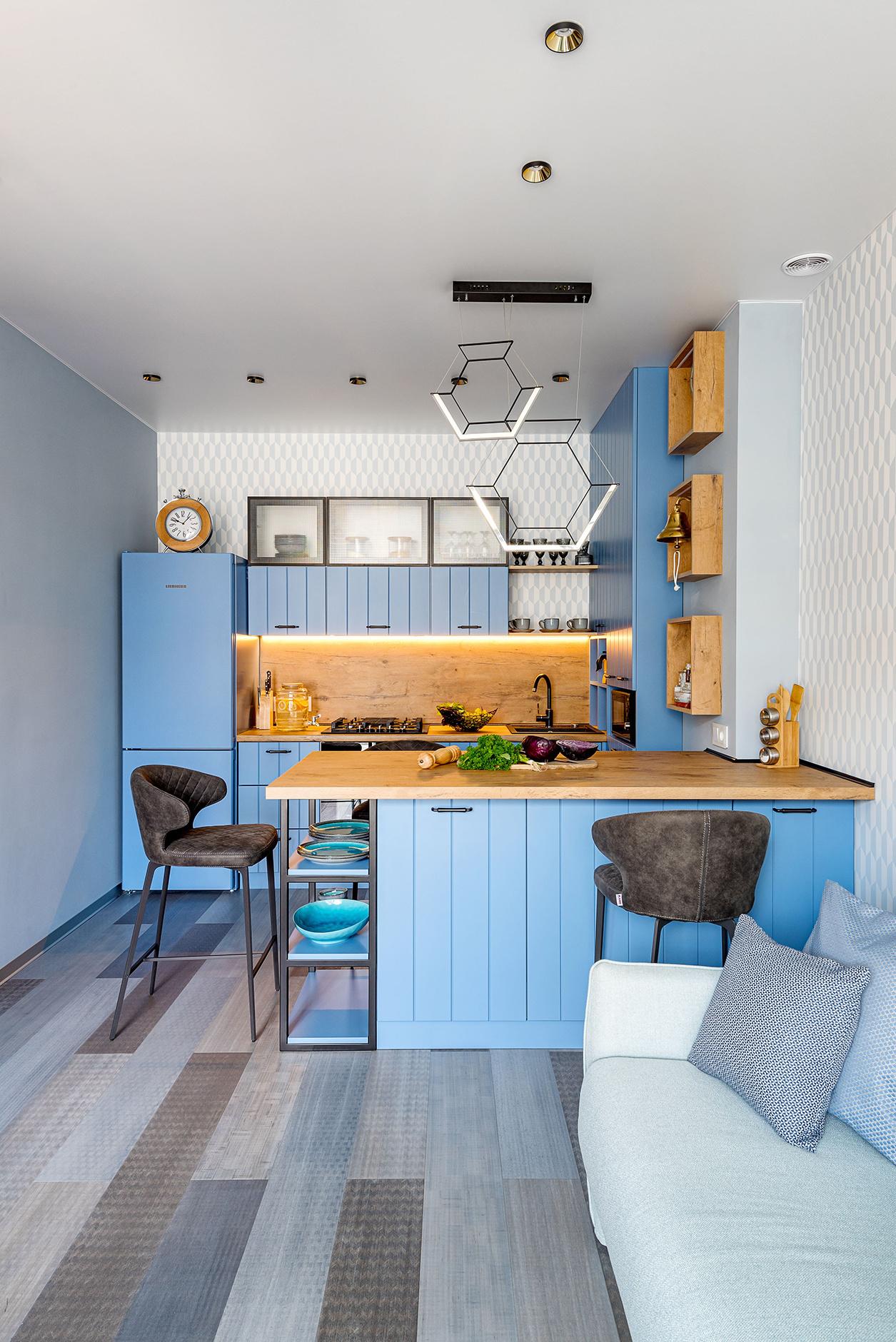 Голубой цвет на кухне: 20+ примеров (галерея 1, фото 0)