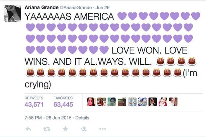 Ариана Гранде о легализации однополых браков в США