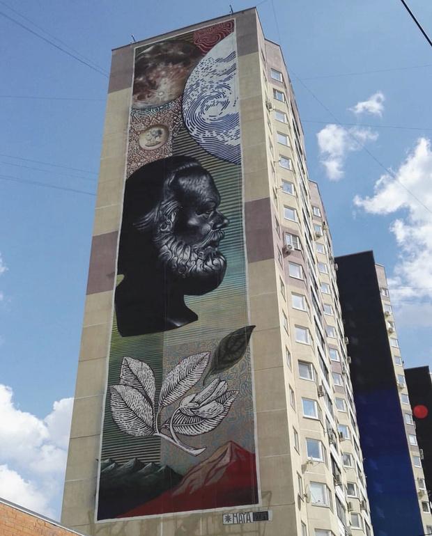 Граффити на карантине: мраморный Карл Маркс и новая Статуя Свободы (фото 1)