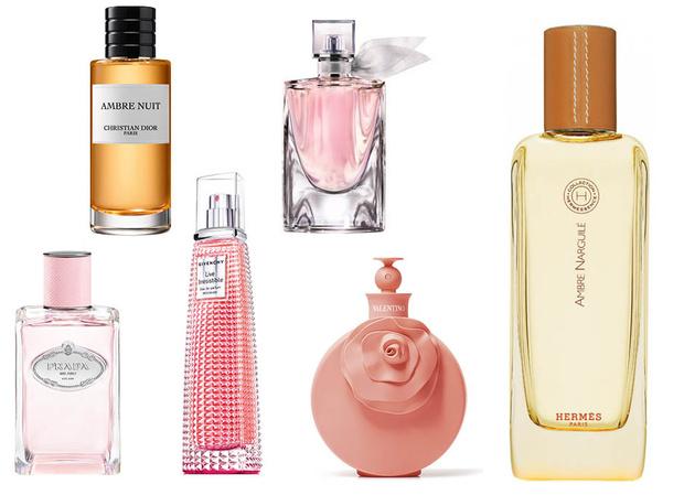 1. Christian Dior Ambre Nuit; 2. Lancome La Vie Est Belle EDT; 3. Hermès Ambre Narguilé; 4. Valentina Blush; 5. Givenchy Live Irresistible Delicieuse; 6. Les Infusions de Prada Infusion de Rose