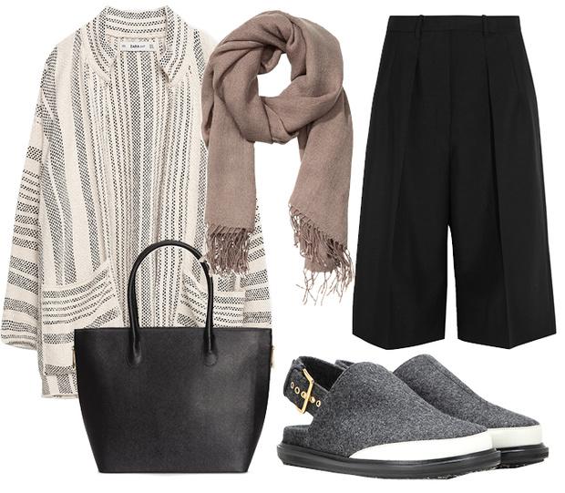 Выбор ELLE: кардиган Zara, обувь Marni, сумка—шоппер и шарф H&M