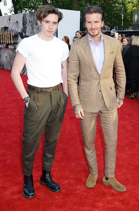 Фото дня: Дэвид Бекхэм с сыном на премьере фильма Гая Ричи