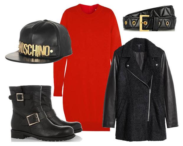 Выбор ELLE: сапоги Jimmy Choo, пояс Miu Miu, пальто H&M, бейсболка Moschino