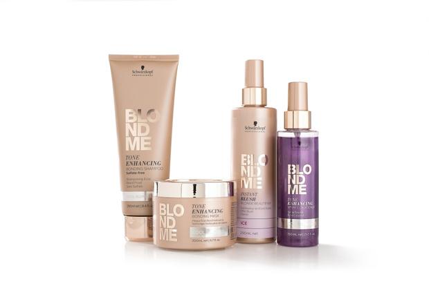 Бондинг-уход BLONDME Schwarzkopf Professional для поддержания холодных оттенков блонд: Тонирующий бессульфатный шампунь, маска, оттеночный спрей для волос, тонирующий кондиционер