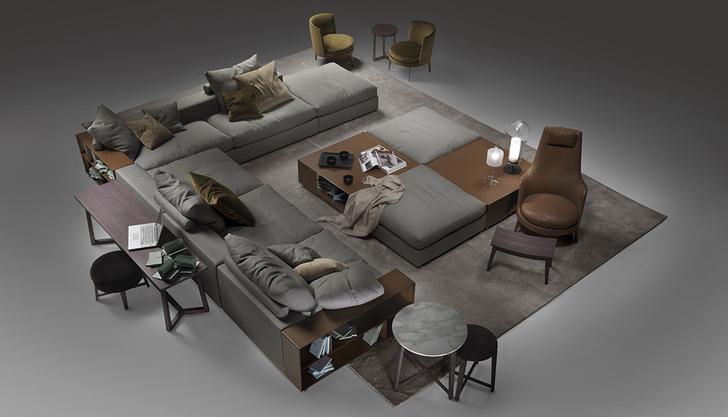 Обстановка гостиной от Flexform. Главный элемент — модульный диван Groundpieсe, дизайн Антонио Читтерио, 2001 год.