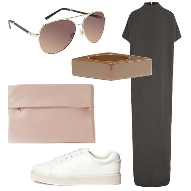 Выбор ELLE: платье RickOwens, браслет Marni, клатч Incity, солнцезащитные очки Aldo