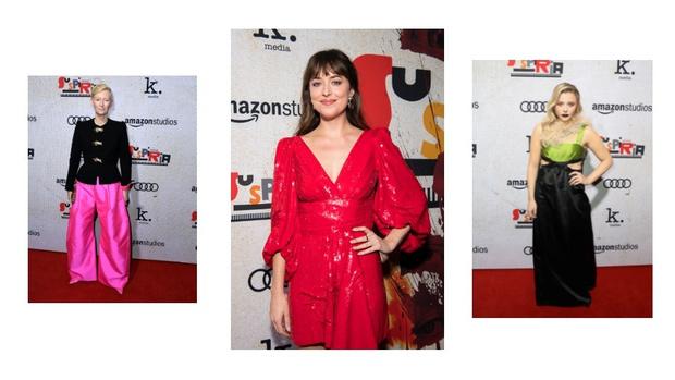 Дакота Джонсон, Тильда Суинтон и Хлоя Грейс Морец на премьере в Лос-Анджелесе (фото 0)