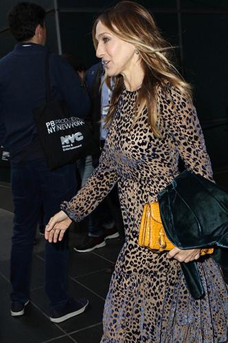 Сара Джессика Паркер в леопардовом платье на конференции в Нью-Йорке фото [1]