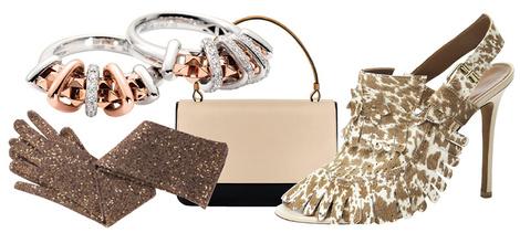 Кольца, Fope, 118 679 руб.; перчатки, Brunello Cucinelli, 45 792 руб.; сумка, Lancel, 65 000 руб.; туфли, Agnona, цена по запросу