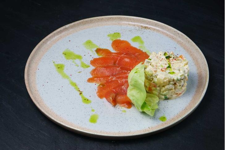 Оливье с лососем рецепт фото