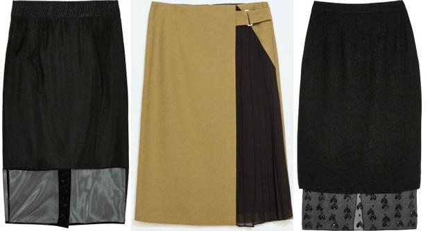 Выбор ELLE: юбка с шифоновым подолом Milly, юбка-гибрид Zara, вечерняя юбка со стразами Mother of Pearl