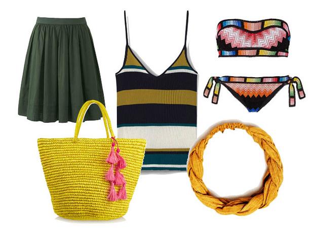 Выбор ELLE: бикини Missoni, юбка Uniqlo, пляжная сумка Sensi Studio, повязка на голову Zara