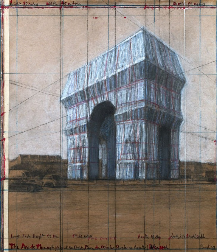 christo will wrap the arc de triomphe in paris with recyclable silvery blue fabric (фото 0)
