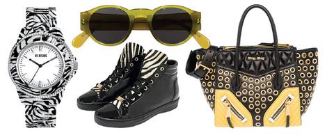 Часы, Versus, 10 000 руб.; очки, Marni, 15 000 руб.; сникерcы, Tosca Blu Shoes, 7 600 руб.