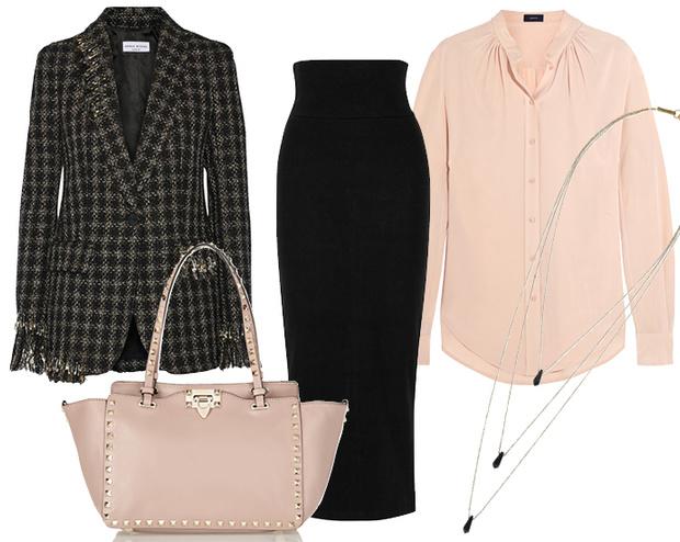 Выбор ELLE: юбка James Perse, блуза Joseph, сумка Valentino, ожерелье Isabel Marant