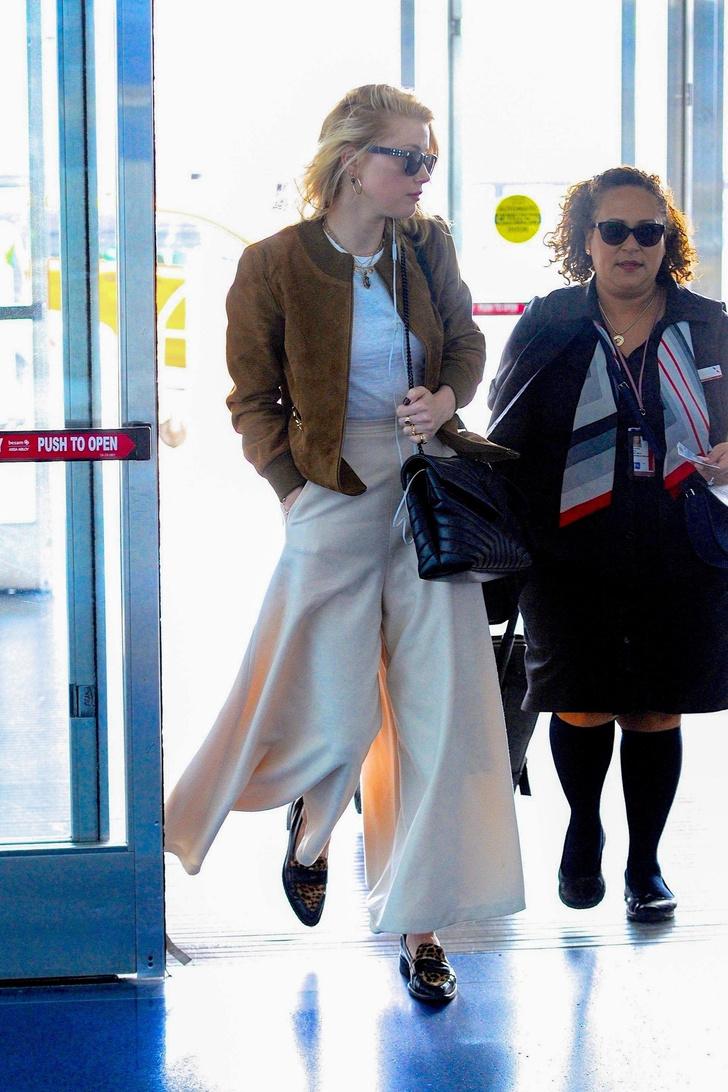 Широкие, очень широкие кремовые брюки Эмбер Херд (фото 3)