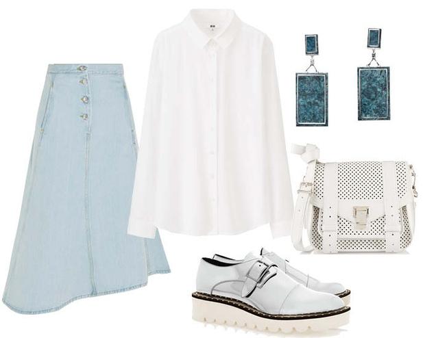 Выбор ELLE : рубашка UNIQLO, броги Stella McCartney, сумка Proenza Schouler, серьги H&M Conscious