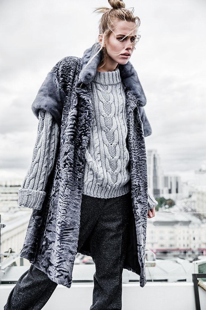 Пальто из каракуля и меха норки