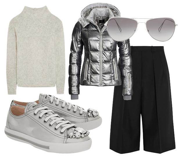 Выбор ELLE: свитер Frame Denim, кеды Miu Miu, бомбер Bogner, солнцезащитные очки Isabel Marant