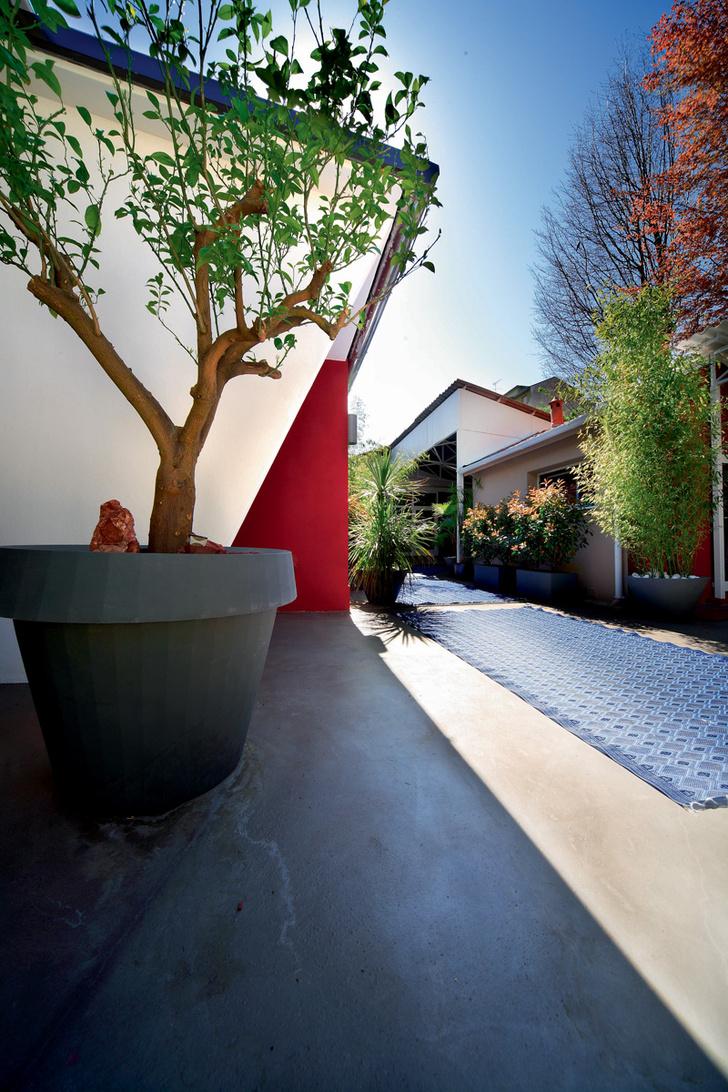 Будет и на нашей улице праздник! Этим девизом руководствовались дизайнеры, оформляя свой дворик, превращая его в лаунж-зону с мягкими диванами, яркими коврами и пышными растениями в кадках.