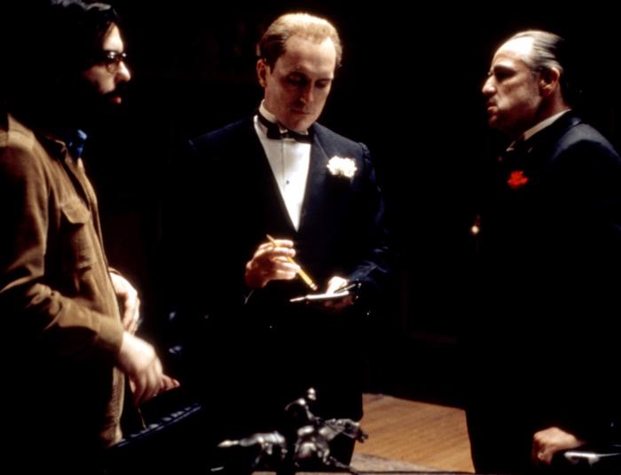 Фрэнсис Форд Коппола, Роберт Дюваль и Марлон Брандо во время съемок фильма «Крестный отец»