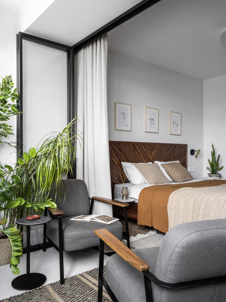 Маленькая квартира 45 м² со спальней за занавеской в Москве (фото 9)