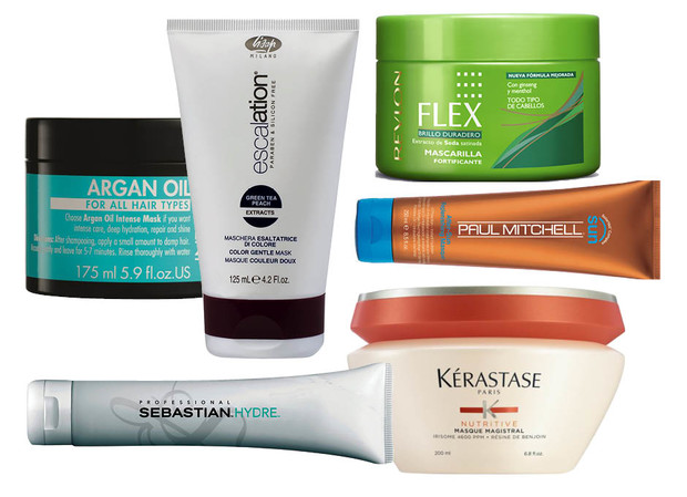 1. Argan Oil Intense Mask; 2. Lisap Milano Escalation Color Gentle Mask; 3. Revlon Flex; 4. Paul Mitchell After-Sun Replenishing Masque; 5. Kerastsae Nutritive Masque; 6. Sebastian Hydre Deep Moisturising Treatment