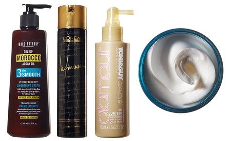 Крем для разглаживания и блеска волос Oil of Morocco, Marc Anthony; лак сильной фиксации Infinium, L'Oréal Professionnel; спрей для объема 3D Volumiser, Toni & Guy HMW; бальзам для стайлинга Baume Double Je, Kérastase