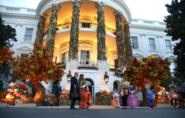 Хэллоуин в Белом доме: Мелания Трамп в желтом платье-пальто Bottega Veneta (фото 5)