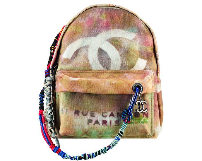 рюкзак chanel из кожи и холщевой ткани