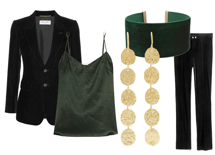Выбор ELLE: блейзер Saint Laurent, брюки H&M, блуза Stella McCartney, серьги Jennifer Meyer