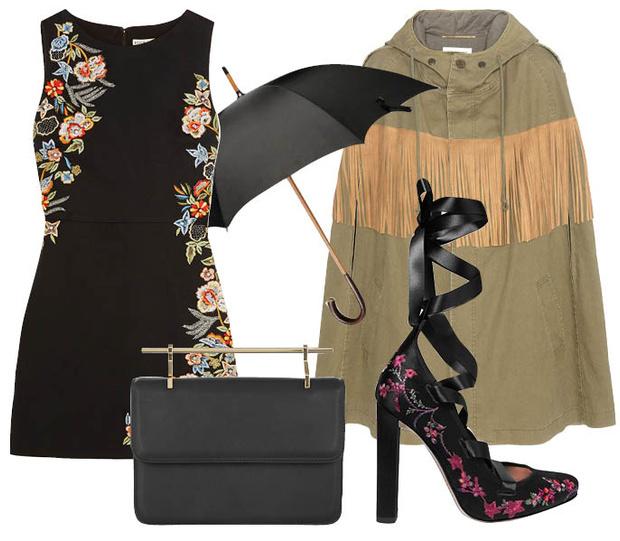 Выбор ELLE: платье Alice+Olivia, туфли Etro, клатч M2Malletier, зонт-трость Ermenegildo Zegna