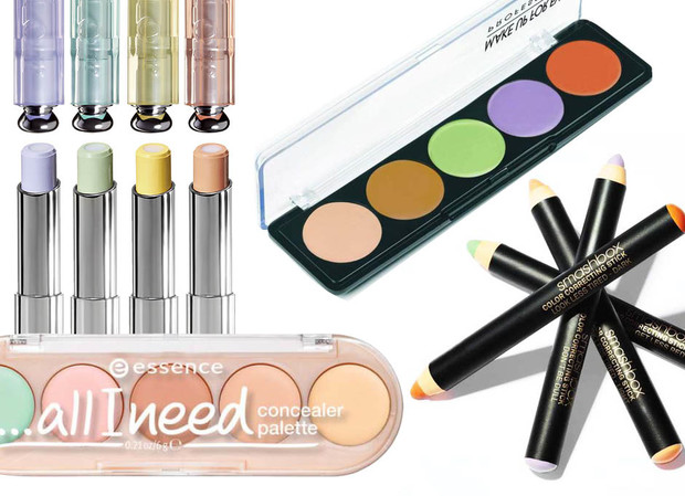 1. Dior Fix It Colour; 2. Make Up For Ever 5 Camouflage Palettes Cream; 3. Smashbox Color Correcting Stick; 5. Essence All I Need Concealer Palette